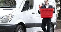 accepting delivery van package